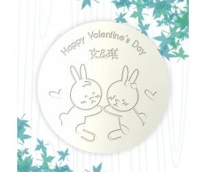 情人杯墊-情侶兔