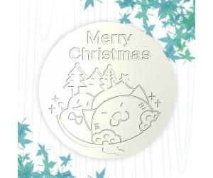 聖誕杯墊-貓與雪人