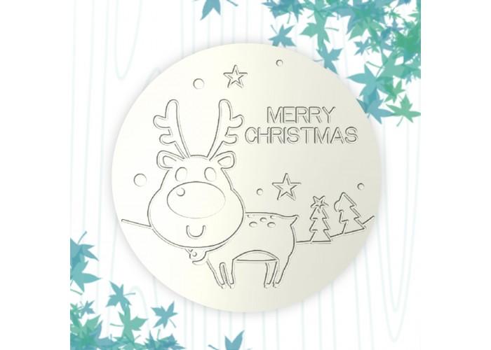 聖誕杯墊-微笑麋鹿