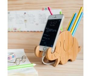 大象筆筒(竹子)-充電手機座